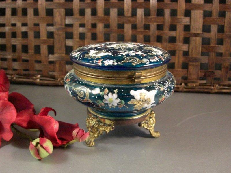 Image 5 of Bohemian Czech Biedermeir Enameled Blue Glass Dose / Dresser Trinket Jewelry Box