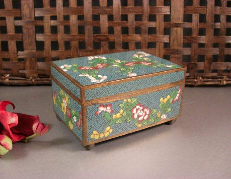 Image 0 of Cloisonne Jewelry Trinket Card Stash Cigarette Box / Floral