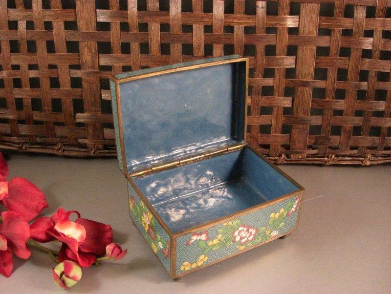 Image 2 of Cloisonne Jewelry Trinket Card Stash Cigarette Box / Floral