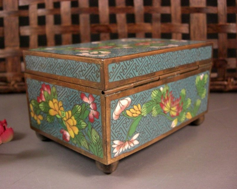 Image 3 of Cloisonne Jewelry Trinket Card Stash Cigarette Box / Floral