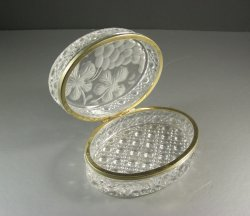 Oval Crystal Jewelry Casket / Large Hinged Trinket Dresser Box
