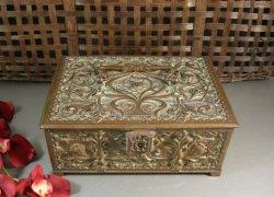 Art Nouveau Bronze Casket Box Reliquary Sarcophagus Treasury