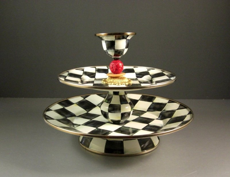 Image 1 of Retired Mackenzie Childs Courtly Check Two Tier Server Sweet Stand with Pick Cup