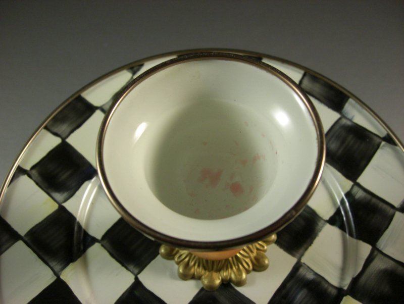 Image 5 of Retired Mackenzie Childs Courtly Check Two Tier Server Sweet Stand with Pick Cup