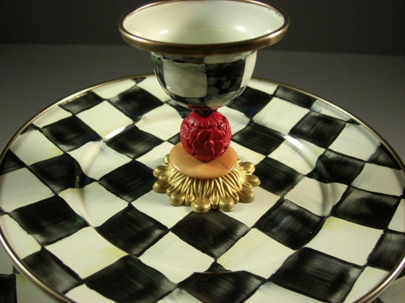 Image 6 of Retired Mackenzie Childs Courtly Check Two Tier Server Sweet Stand with Pick Cup