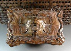 Black Forest Walnut Jewelry Casket Box Reliquary Sarcophagus Treasury