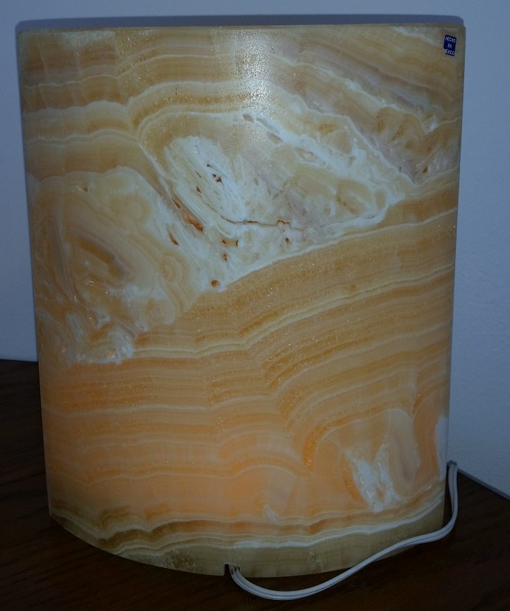 Image 1 of Onyx and Calcite Lamp - Yellow Marquis Design