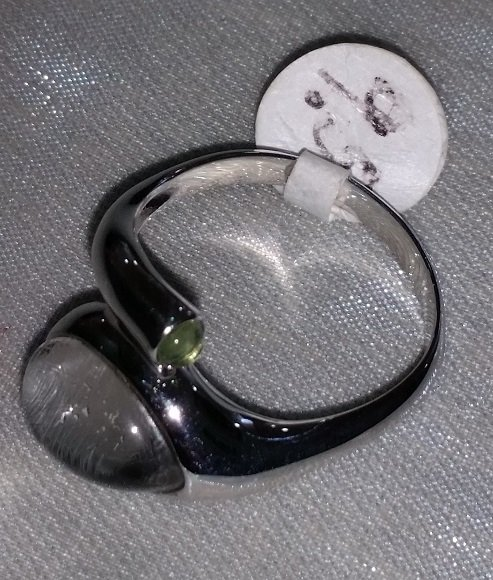 Image 0 of  Swedish Meteorite, Quartz and Moldavite Ring