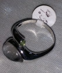 Swedish Meteorite, Quartz and Moldavite Ring
