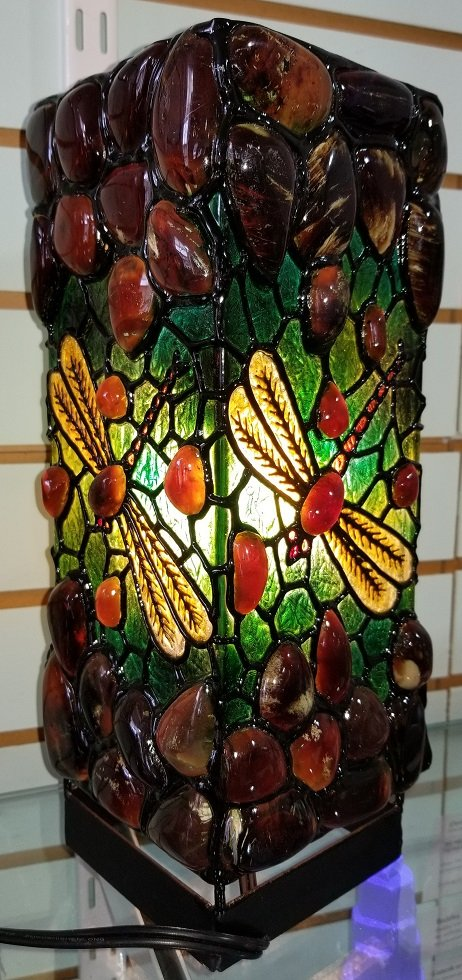 Image 1 of Sumatra Amber Lamp with a Dragonfly Motif