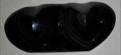 Carved Rainbow Obsidian Double Heart
