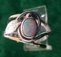 Opal Ring with Leaf Motif
