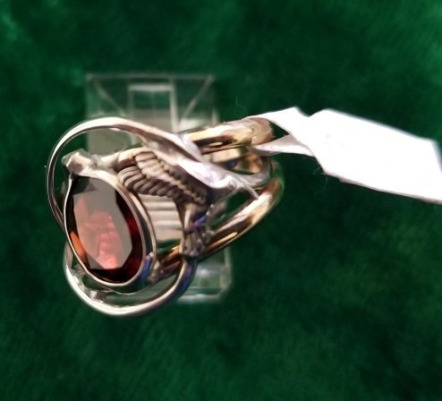 Image 0 of Garnet Ring with Hummingbird Motif