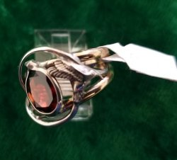 Garnet Ring with Hummingbird Motif