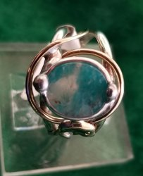 Amazonite/Peraiba Ring with Dolphin Motif