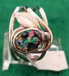 Mystic Topaz Ring with Leaf Motif