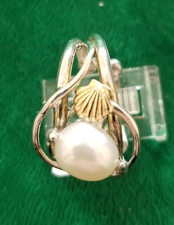 Image 1 of  Pearl Ring with Shell Motif