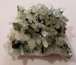 Epidote on Quartz Crystals