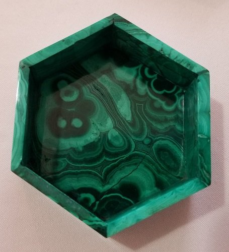 Image 9 of Malachite Hexagonal Decorative Box with Lid