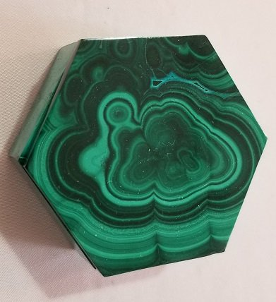 Image 0 of Malachite Hexagonal Decorative Box with Lid