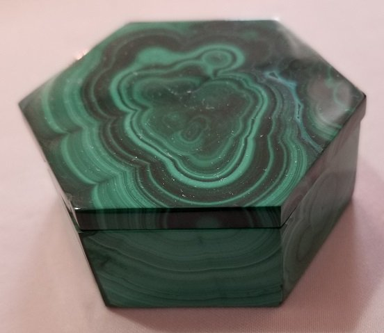 Image 2 of Malachite Hexagonal Decorative Box with Lid