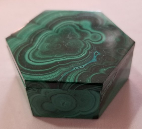 Image 3 of Malachite Hexagonal Decorative Box with Lid