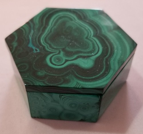 Image 5 of Malachite Hexagonal Decorative Box with Lid