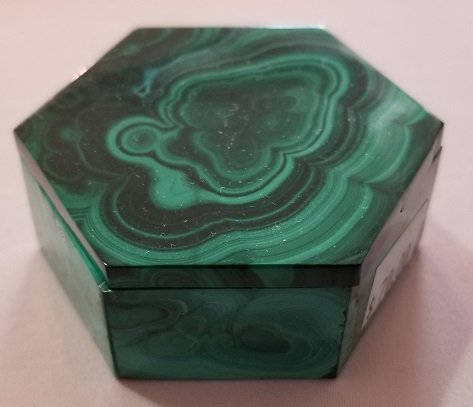 Image 6 of Malachite Hexagonal Decorative Box with Lid