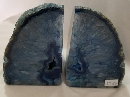 Image 0 of Agate Geode Bookends - Blue