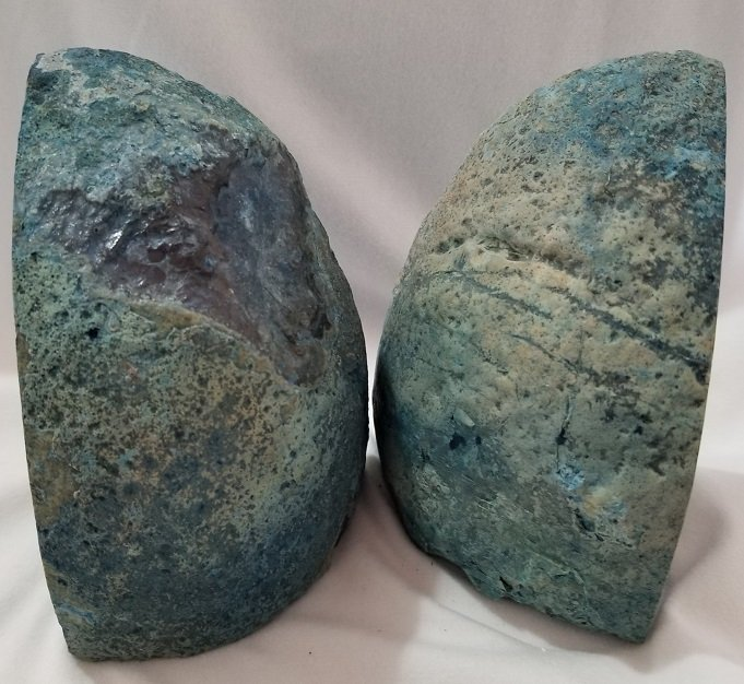 Image 2 of Agate Geode Bookends - Blue