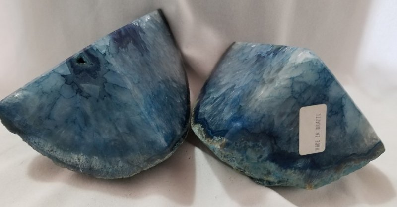 Image 4 of Agate Geode Bookends - Blue