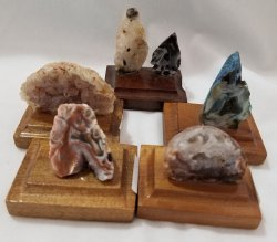 Agate Geodes - Minis on a Wooden Base