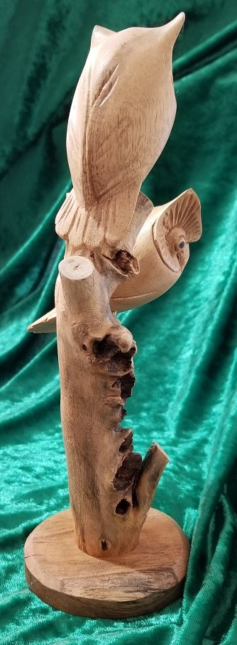 Image 3 of Carved Wooden Owl Sculpture