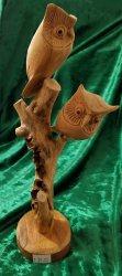 Carved Wooden Owl Sculpture