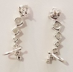 Image 3 of Herkimer Diamond Quartz Ear Hugger Earrings in Sterling Silver