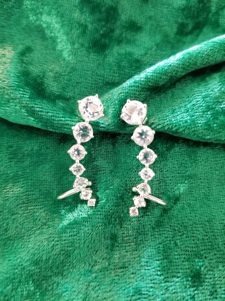 Image 4 of Herkimer Diamond Quartz Ear Hugger Earrings in Sterling Silver