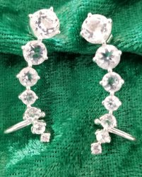Herkimer Diamond Quartz Ear Hugger Earrings in Sterling Silver