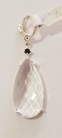 Image 0 of Herkimer Diamond Quartz and Tourmaline Necklace Enhancer in Sterling Silver
