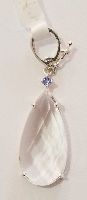 Image 0 of Herkimer Diamond Quartz and Tanzanite Necklace Enhancer in Sterling Silver