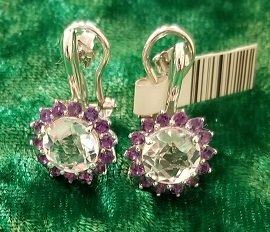 Image 1 of Herkimer Diamond Quartz and Amethyst Earrings in Sterling Silver
