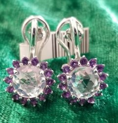 Herkimer Diamond Quartz and Amethyst Earrings in Sterling Silver