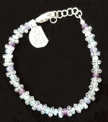 Herkimer Diamond Quartz, Tanzanite, Blue Apatite, and Amethyst Bracelet