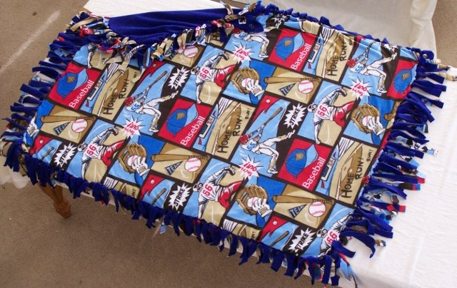 Image 0 of Baseball Print Double Fleese Tie Blanket (Handmade in USA)  B1