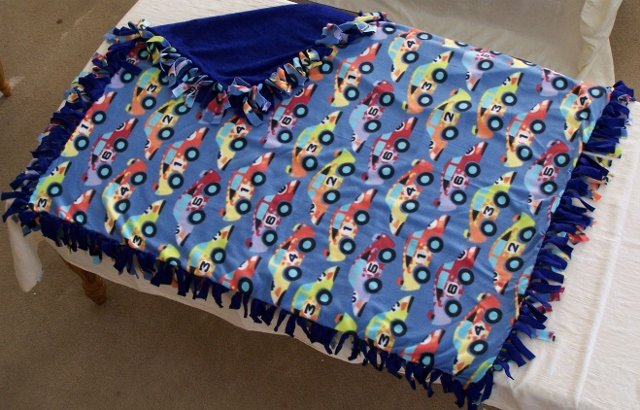 Image 0 of Race Car Print Double Fleese Tie Blanket (Handmade in USA)  R1