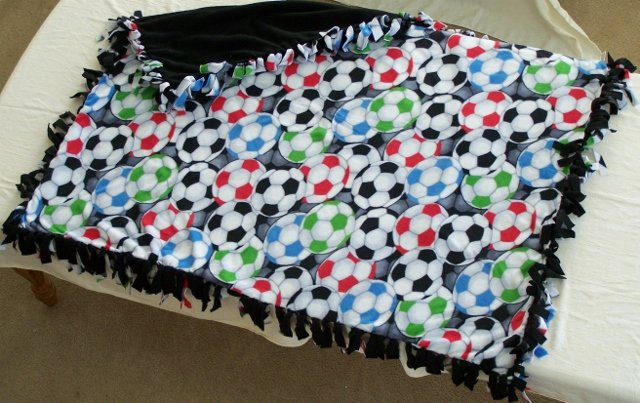 Image 0 of Soccer Print Double Fleese Tie Blanket (Handmade in USA)  S1