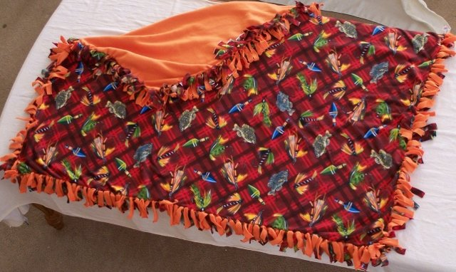 Image 0 of Fishing Gear Print Double Fleese Tie Blanket (Handmade in USA)  F1