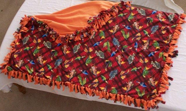 Image 0 of Fishing Gear Print Double Fleese Tie Blanket (Handmade in USA)  F1
