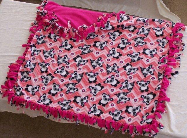 Image 0 of Panda Bear Print Double Fleese Tie Blanket (Handmade in USA)  P1