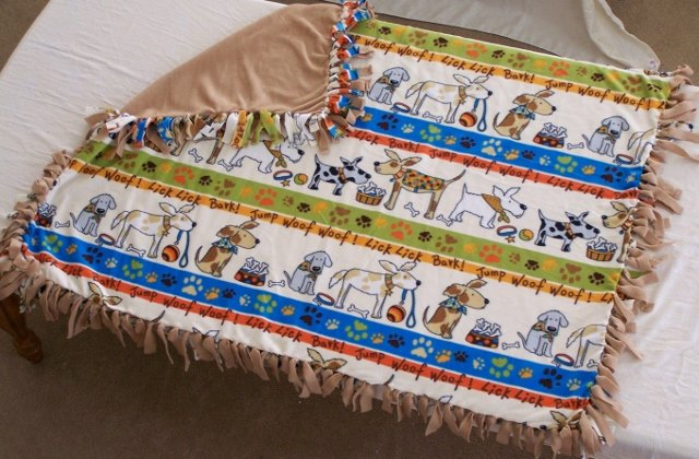 Image 0 of Dog Print Double Fleese Tie Blanket (Handmade in USA)  D1