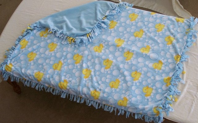 Image 0 of Duck Print Double Fleese Tie Blanket (Handmade in USA)  D1